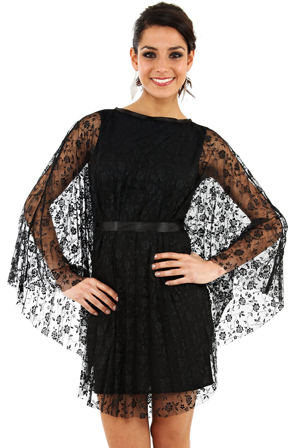 Wholesale Pleated Lace Dress with Ribbon Tie