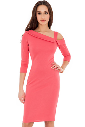 Wholesale One Shoulder Fitted Midi dress